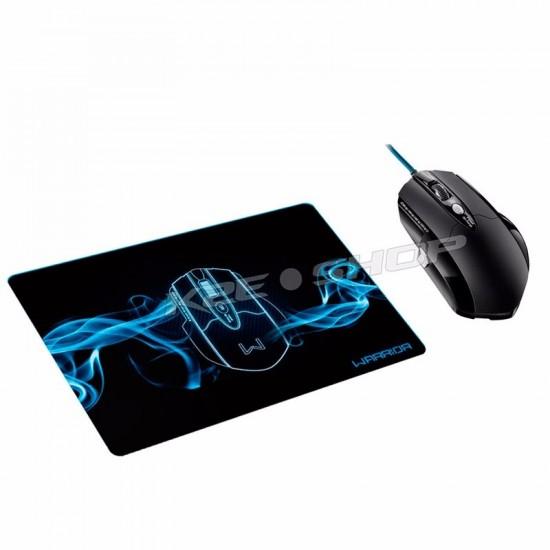 Mouse Multilaser Warrior Gamer Pro Laser USB 8 Botões 3.200 Dpi + Mousepad - MO191