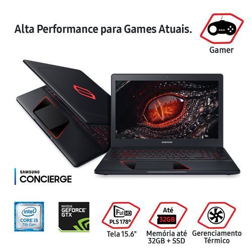 "Notebook Gamer Samsung NVIDIA GeForce GTX 1050 Core i5 12GB 1TB Tela Full HD 15.6"" Windows 10"
