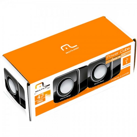 Caixa de Som Multilaser 2.0 4W RMS Mini Black Piano USB - SP089