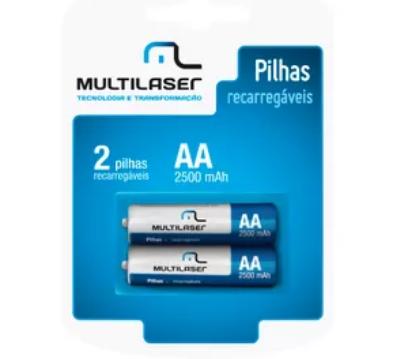 Pilhas Recarregaveis AA Multilaser 2500mAH com 2 Unidades - CB053